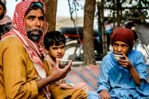 Father with kids drinking tea photography