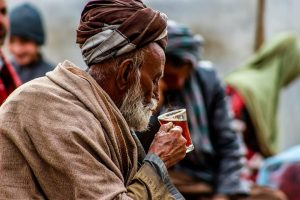 Old Man drinking tea photography
