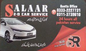 Salaar 2D car Service Quetta to Lahore