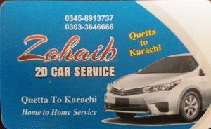Zohaib 2D car service Quetta to Karchi