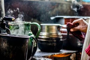 Tea making photograph in rain